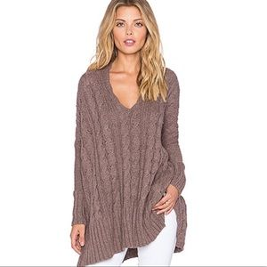 Free People Easy Cable Chunky Knit V Neck Sweater